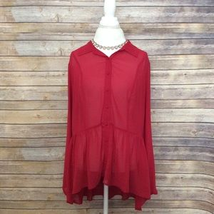 Torrid red sheer long sleeve floral lace blouse 1X